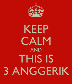 Poster: KEEP CALM AND THIS IS 3 ANGGERIK