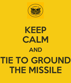 Poster: KEEP CALM AND TIE TO GROUND THE MISSILE