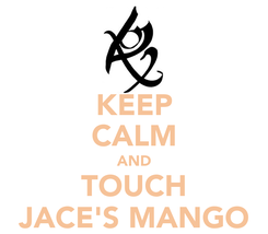 Poster: KEEP CALM AND TOUCH JACE'S MANGO