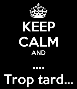 Poster: KEEP CALM AND .... Trop tard...