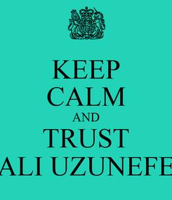Poster: KEEP CALM AND TRUST ALI UZUNEFE
