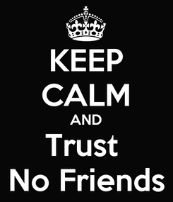 Poster: KEEP CALM AND Trust  No Friends