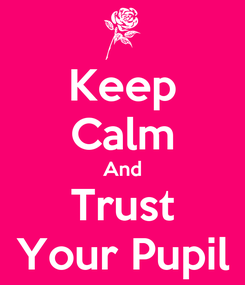 Poster: Keep Calm And Trust Your Pupil