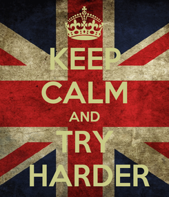 Poster: KEEP CALM AND TRY  HARDER