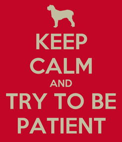 Poster: KEEP CALM AND TRY TO BE PATIENT