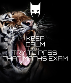Poster: KEEP CALM AND TRY TO PASS  THAT MATHS EXAM