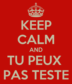Poster: KEEP CALM AND TU PEUX  PAS TESTE