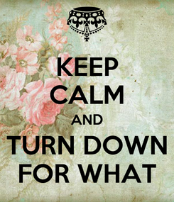 Poster: KEEP CALM AND TURN DOWN FOR WHAT