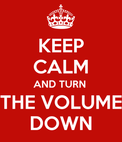 Poster: KEEP CALM AND TURN  THE VOLUME DOWN