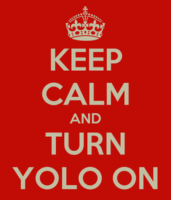 Poster: KEEP CALM AND TURN YOLO ON