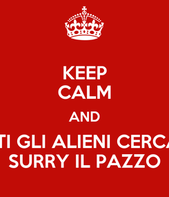 Poster: KEEP CALM AND TUTTI GLI ALIENI CERCANO SURRY IL PAZZO