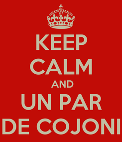 Poster: KEEP CALM  AND UN PAR DE COJONI