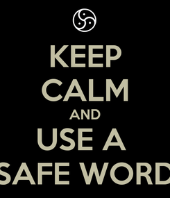 Poster: KEEP CALM AND USE A  SAFE WORD