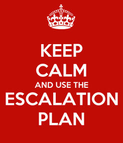 Poster: KEEP CALM AND USE THE ESCALATION PLAN