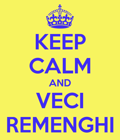 Poster: KEEP CALM AND VECI REMENGHI