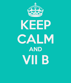 Poster: KEEP CALM AND VII B
