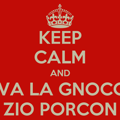 Poster: KEEP CALM AND VIVA LA GNOCCA ZIO PORCON