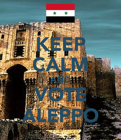 Poster: KEEP CALM AND VOTE ALEPPO