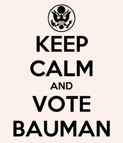 Poster: KEEP CALM AND VOTE BAUMAN
