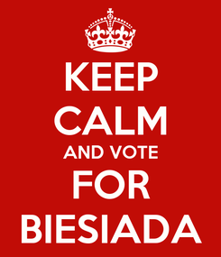 Poster: KEEP CALM AND VOTE FOR BIESIADA