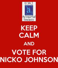 Poster: KEEP CALM AND VOTE FOR NICKO JOHNSON