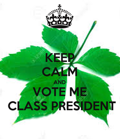 Poster: KEEP CALM AND VOTE ME  CLASS PRESIDENT