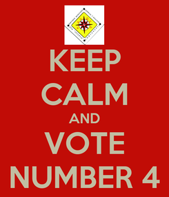Poster: KEEP CALM AND VOTE NUMBER 4
