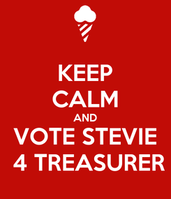 Poster: KEEP CALM AND VOTE STEVIE  4 TREASURER