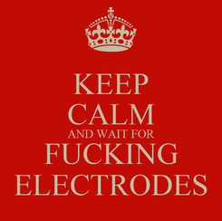 Poster: KEEP CALM AND WAIT FOR FUCKING ELECTRODES