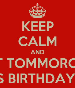 Poster: KEEP CALM AND WAIT TOMMOROW IS VIRAG'S BIRTHDAY PARTY