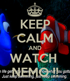 Poster: KEEP CALM AND WATCH  NEMO !!