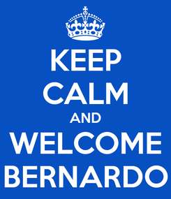 Poster: KEEP CALM AND WELCOME BERNARDO