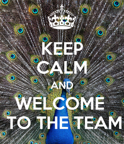 Poster: KEEP CALM AND WELCOME   TO THE TEAM
