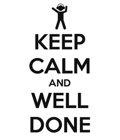 Poster: KEEP CALM AND WELL DONE