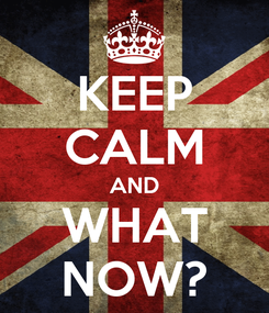 Poster: KEEP CALM AND WHAT NOW?