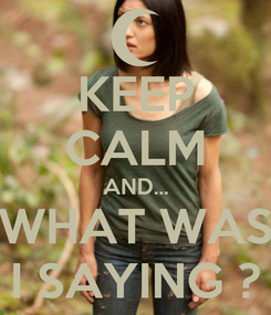 Poster: KEEP CALM AND... WHAT WAS I SAYING ?