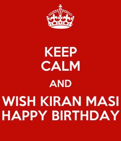 Poster: KEEP CALM AND WISH KIRAN MASI HAPPY BIRTHDAY