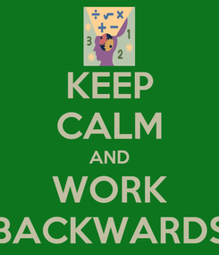 Poster: KEEP CALM AND WORK BACKWARDS