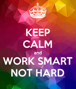 Poster: KEEP CALM and WORK SMART NOT HARD