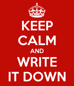 Poster: KEEP CALM AND WRITE IT DOWN