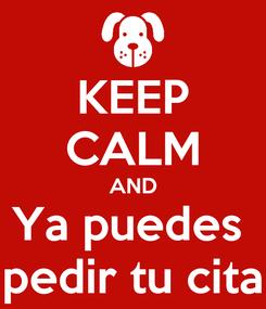 Poster: KEEP CALM AND Ya puedes  pedir tu cita