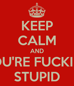 Poster: KEEP CALM AND YOU'RE FUCKING STUPID