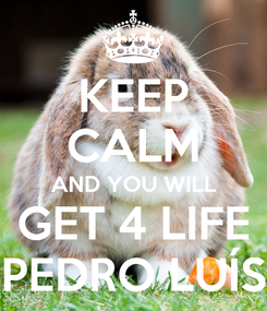 Poster: KEEP CALM AND YOU WILL GET 4 LIFE PEDRO LUÍS