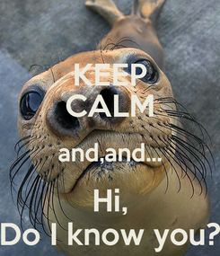 Poster: KEEP CALM and,and... Hi, Do I know you?