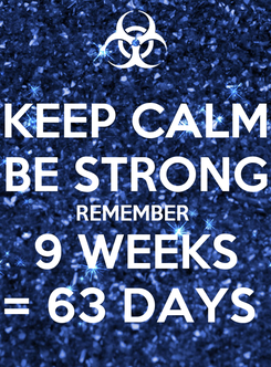 Poster: KEEP CALM BE STRONG REMEMBER  9 WEEKS = 63 DAYS