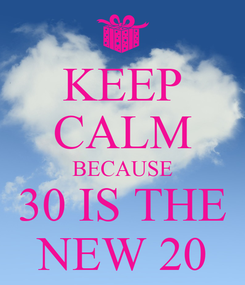 Poster: KEEP CALM BECAUSE 30 IS THE NEW 20