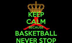 Poster: KEEP CALM BECAUSE BASKETBALL NEVER STOP