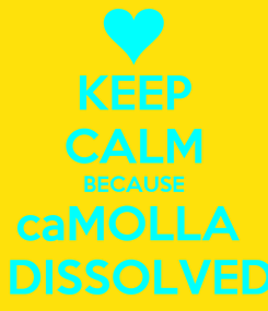 Poster: KEEP CALM BECAUSE caMOLLA   DISSOLVED