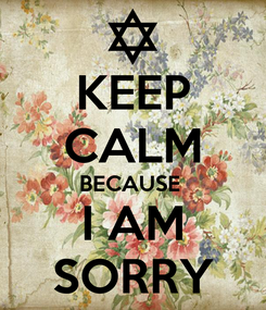 Poster: KEEP CALM BECAUSE  I AM SORRY