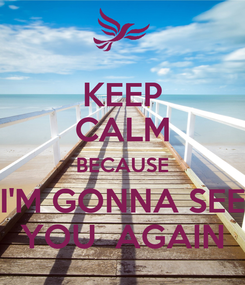 Poster: KEEP CALM BECAUSE I'M GONNA SEE YOU  AGAIN